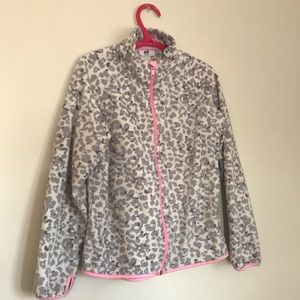 H&M Pink & Grey Leopard Print Zip Up Sweater